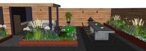 tuin met veranda en cortenstalen borders